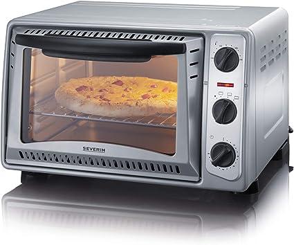 Severin TO 2045 Horno para pizza, 1500 W, 20 litros, Metal, Gris