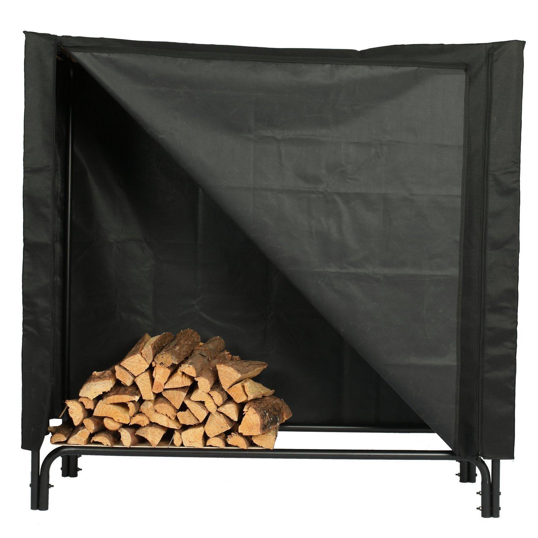 Black soldbbq 4-Foot Heavy-Duty Polyester Decorative Firewood Log Rack Cover
