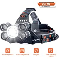 Headlamp Rechargeable, SUVOM LED Headlight 4 Modes LED Work Headlight Waterproof Head Torch with Rechargeable Batteries Brightest 10000 Lumen Headlight Flashlight for Camping, Running, Hiking, Fishing