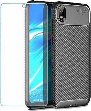 Negro Wanxideng Carcasa de Armadura Resistente Funda de Silicona Suave y Delgada Protectore de Pantalla in Cristal Templado, Textura de Fibra de Carbono Funda Huawei Y5 2019