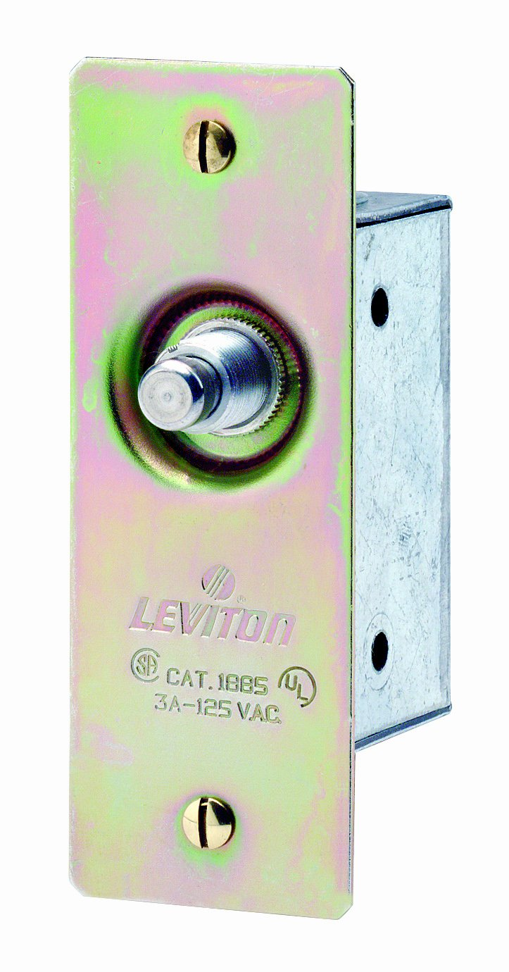 Leviton 1865 3 Amp, 125 Volt, Single-Pole, Doorjamb with Jamb Box Switch, Single Circuit Momentary, Normally ON, Commercial Grade, Brass