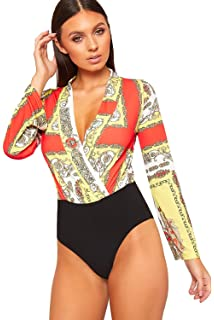 145cc95224 WearAll Women s Baroque Print Plunge V-Neck Long Sleeve Wrap Bodysuit Ladies  Leotard Top 6
