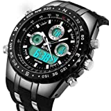 binzi–Bracciale da uomo impermeabile sport orologio da militare orologi Digital orologio lusso–Luce LED Dual Display con cinturino in silicone nera