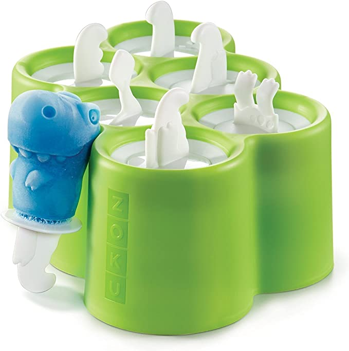 Zoku Dino Pop Molds, 6 Different Easy-release Silicone Popsicle Molds in One Tray, Unique and Fun Prehistoric Designs, BPA-free