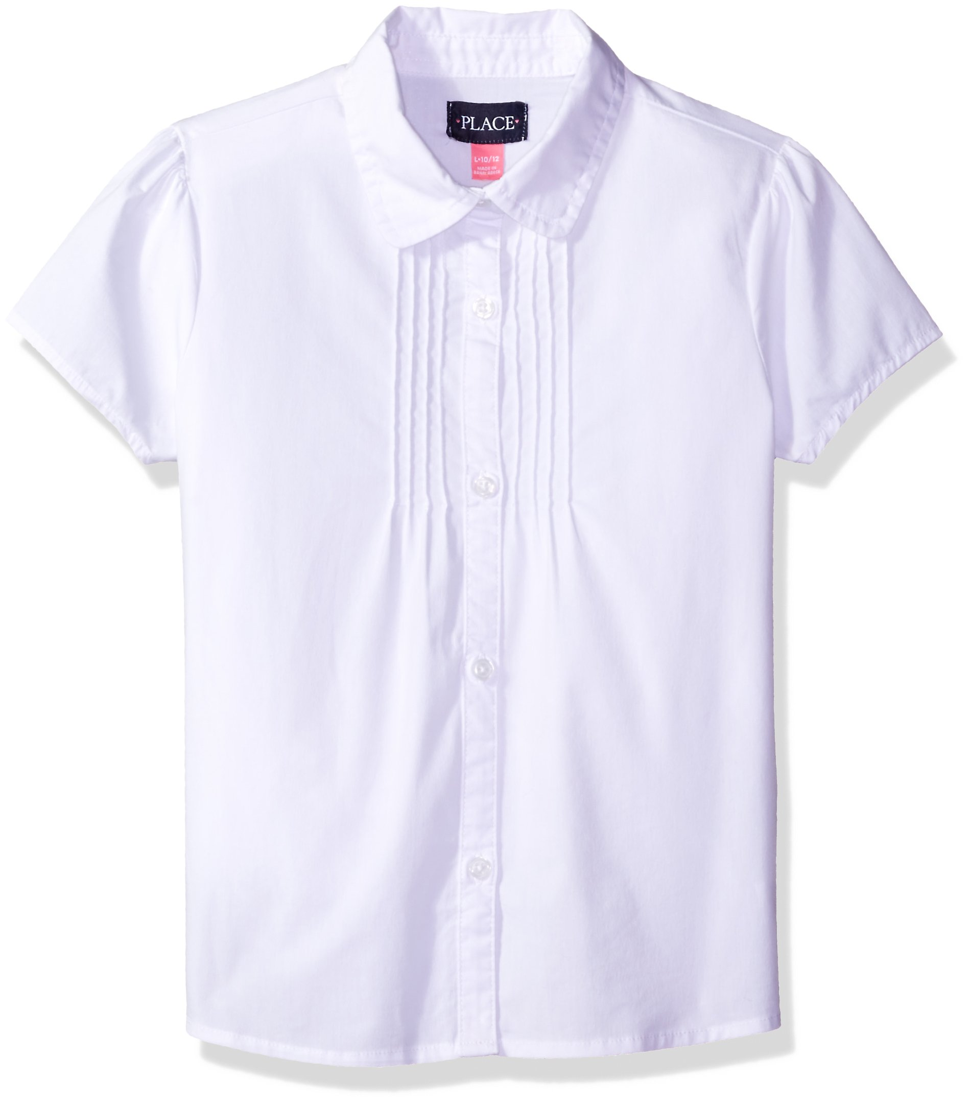 The Children's Place Big Girls' Uniform Short Sleeve Blouse, White 44392, Large/10/12