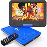 "DR. J 11.5"" Portable DVD Player with HD 9.5"" Swivel Screen, Rechargeable Battery with Wall Charger, Car Charger and AV Cable,"