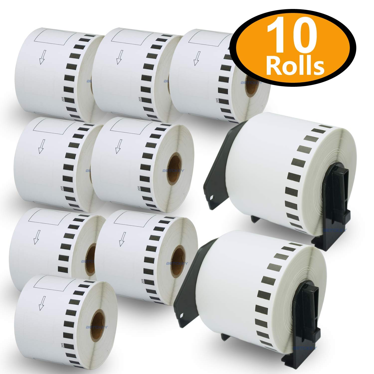 BETCKEY - 10 Rolls Compatible Brother DK-2205 62mm x 30.48m(2-3/7'' x 100') Continuous Length Paper Tape Labels With Two Refillable Cartridge Frame