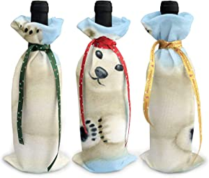 3pc Christmas Wine Bottle Covers White Polar Bear On Ice Santa Claus Red Wine Bottle Cover Bags Dinner Party Table Xmas Decor