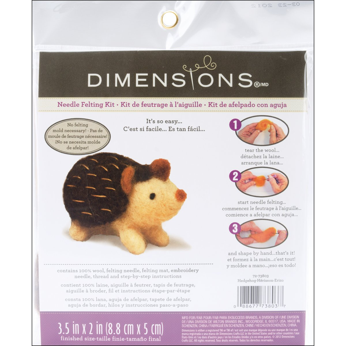 Dimensions Needlecrafts Needle Felted Character Kit, Hedgehog product image