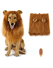Dog Lion Mane, Lion Mane Wig Costumes Medium to Large Sized Dog Ears & Tail, Fancy Lion Hair Halloween Costume Holiday Photo Shoots Party Festival Occasion