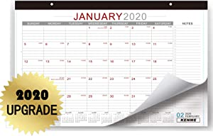 "Desk Calendar 2020, 17""×11"" Wall Calendar for Home and Office, Spacious Notes Section, 12 Months Quick View - Large Monthly Academic Desktop Planner Pad."