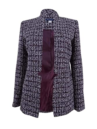 47daefc7 Tommy Hilfiger Women's Open-Front Tweed Blazer (4, Pinot Multi) at Amazon  Women's Clothing store: