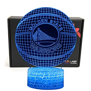 LED NBA Team 3D Optical Illusion Smart 7 Colors Night Light Table Lamp with USB Power Cable (Warriors)