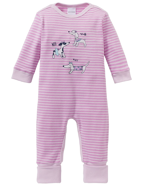 Schiesser Mädchen Zweiteiliger Schlafanzug Puppy Love Baby Anzug mit Vario Fuß 163330