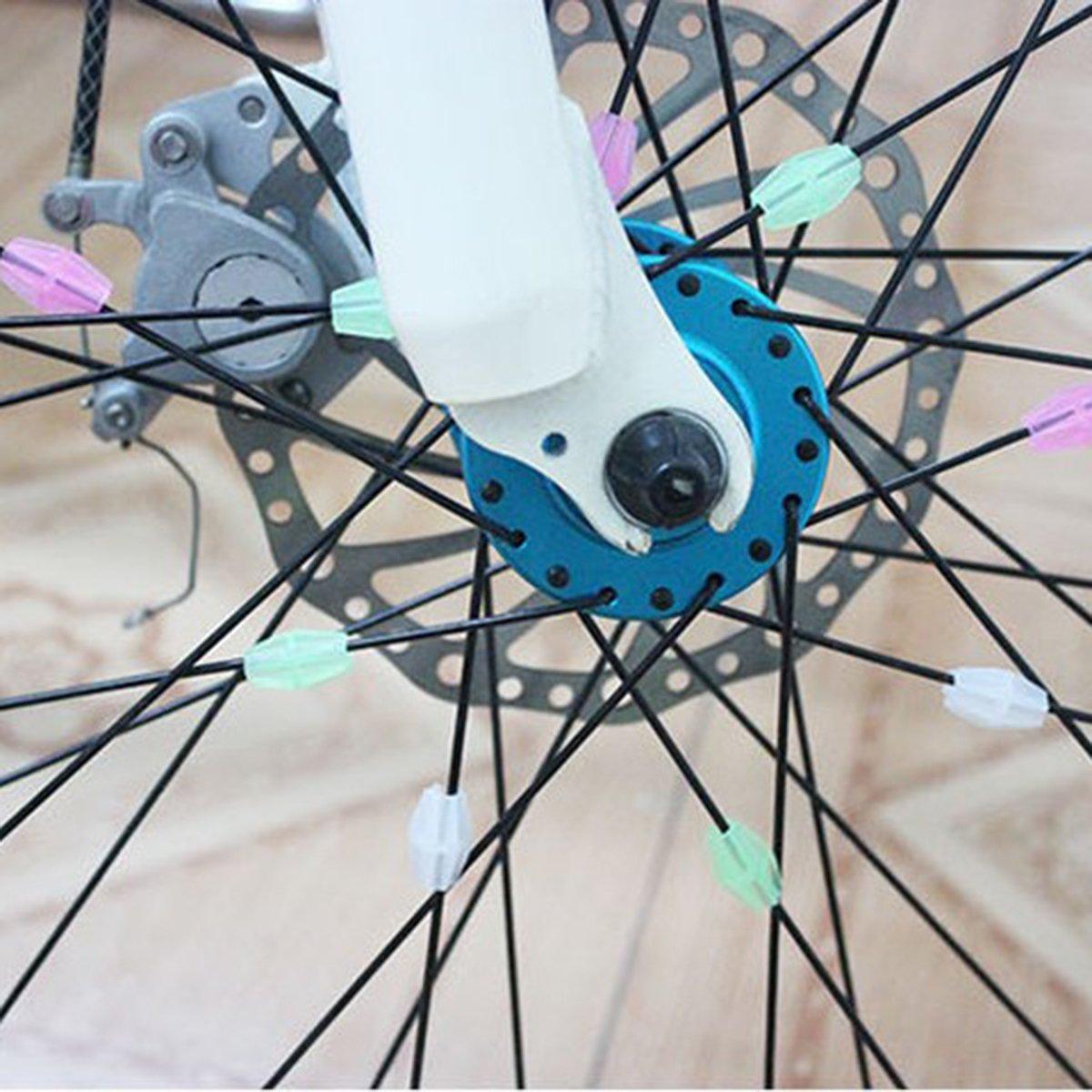 36pcs Bike Spoke Beads Bicycle Wheel Beads Luminous Clip Spoke Derections