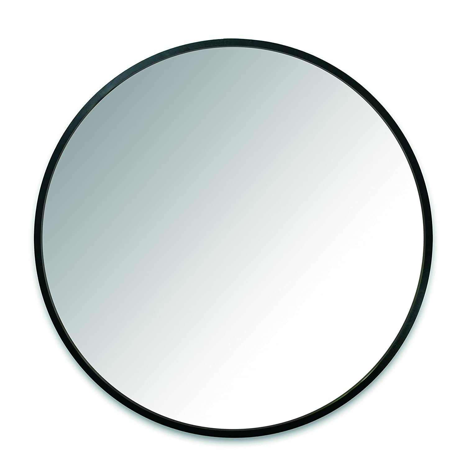 Umbra Hub Wall Mirror With Rubber Frame - 37-Inch Round Wall Mirror for Entryways, Washrooms, Living Rooms and More, Doubles as Modern Wall Art, Black