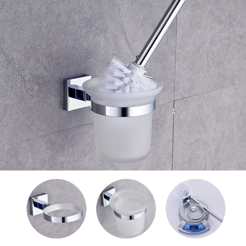 WC cepillo Soporte, Auralum - Escobillero a la pared montaje, Glas Wc-bü rste, Vaso Glas Wc-bürste