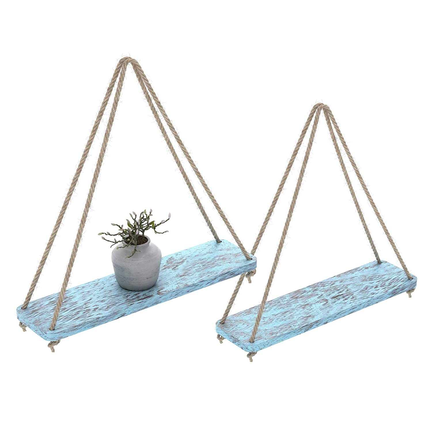 """Rustic Set of 2 Wooden Floating Shelves with String – Farmhouse Hanging Shelves for Living Room Wall – Small Kitchen Shelves with Rope – 17""""x5.2"""" – Distressed, Rustic Blue Color"""