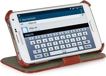 StilGut UltraSlim Case V2, custodia con funzione di supporto per Samsung Galaxy S5 & S5 Neo, cognac vintage