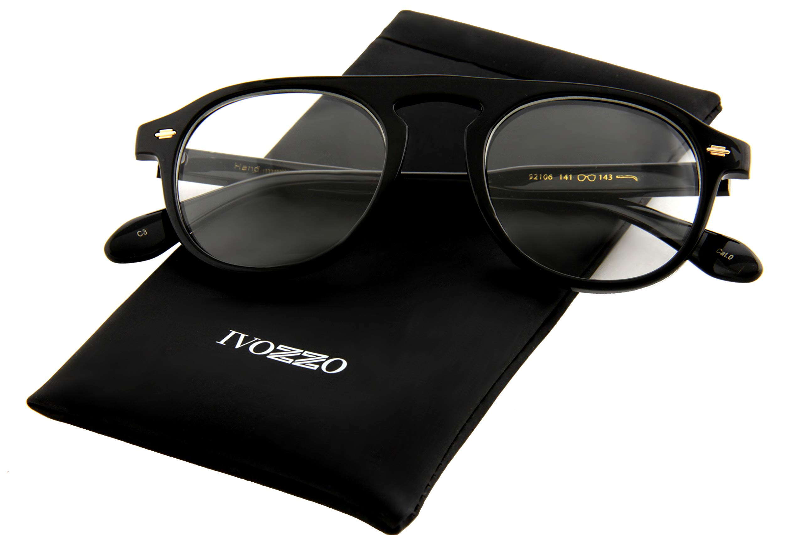 IVOZZO - Classic Round Clear Lens Gold Accents Retro Glasses