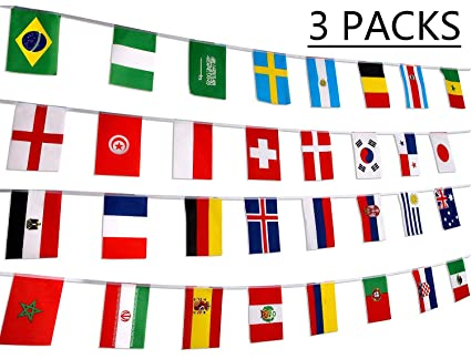 5357d772ab71 Image Unavailable. Image not available for. Color  78 Feet 2018 World  Soccer Game Banner Decorations Russia - 32 Countries International Flags  Party ...