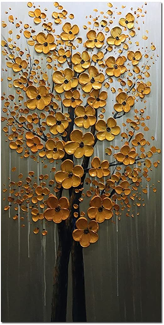 "Paintings 24X48/"" Oil Painting GOLD Flower 3D Hand Painted On Canvas Abstract Art"