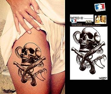 Tattoo ID XXL de calavera tatuaje grande Ephemere temporal ...