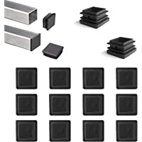 YouU 20 piezas Tapón de plástico cuadrado, negro, para muebles, silla, patas, pies, tapa, insertos de tubo, tapa final…