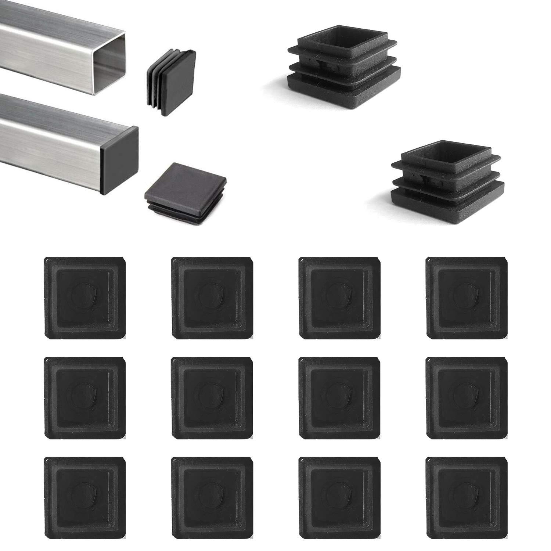 YouU 20 Pcs Square Plastic Plug Black Furniture Chair Leg Foot Cover Cap Tubing Inserts End Cap (30x30mm/1.18''x1.18''),Black