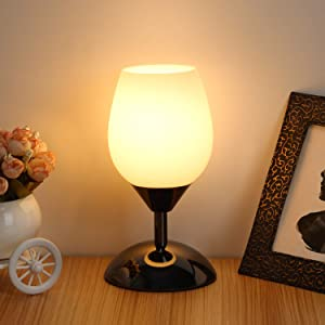 Touch Control Table Lamp Dimmable Small Lamp Ambient Light with White Opal Glass Shade Simple Night Light Modern Accent Lamp Bedside Nightstand Lamp for Bedroom Living Room, E12 Bulb Included