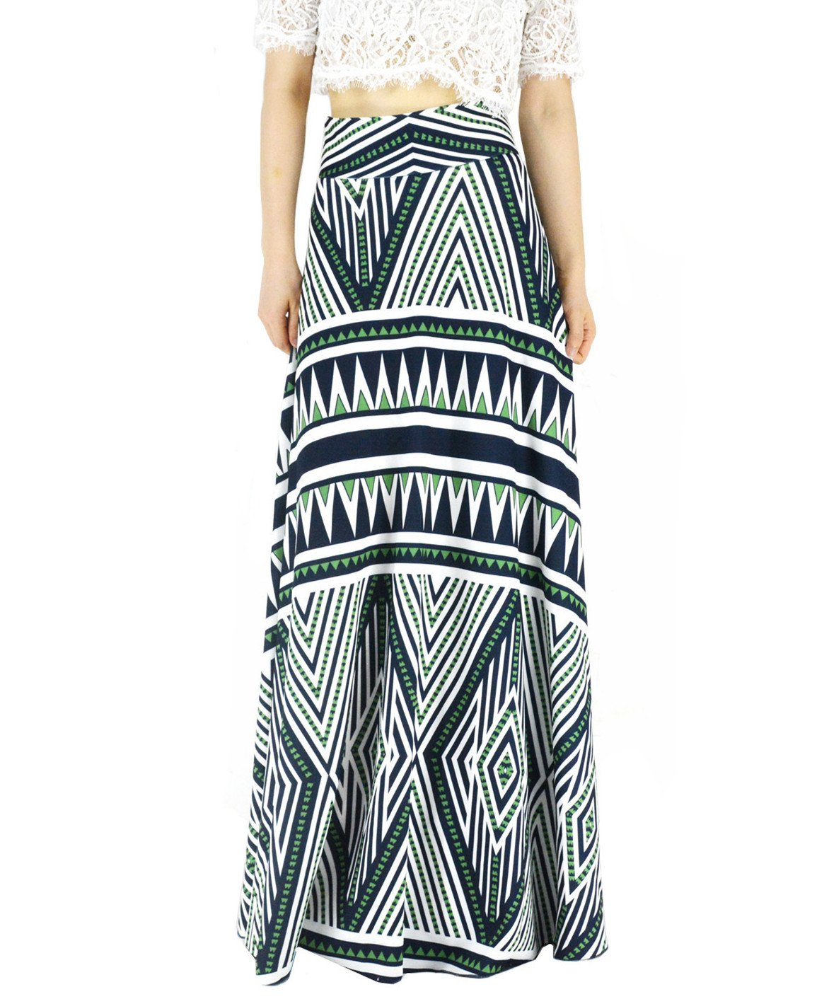 YSJERA Women's High Waist A-Line Pleated Solid Vintage Swing Maxi Skirts Midi Skirt Party (16 Plus, Green)
