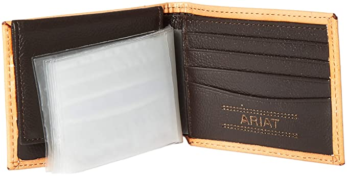 Ariat Western Mens Wallet Leather Bifold Croc Print Brown A3535402