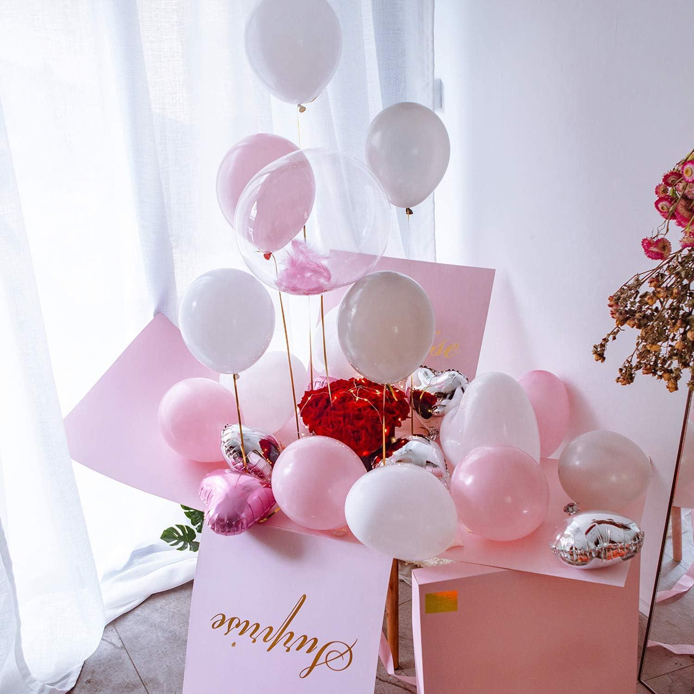 Caja de regalo grande sorpresa – explosión caja de regalo 19 x 19 x 19 pulgadas con cinta, 12 pulgadas globos en forma de corazón y globos de látex, perfecto para cumpleaños,