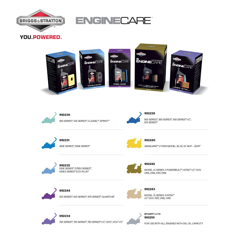 Briggs /& Stratton 992231 Kit dentretien du moteur 450E//500E-Series