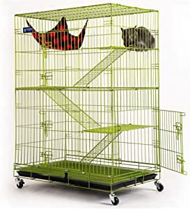 Cat Cage Rabbit Hutch Guinea Pig Hutch Folding Bold Rabbit Cage Indoor Home Three Or Four Storey Large Fenced Rabbit House More Open Doors (Color : Green, Size : 61.5 * 44 * 102cm)