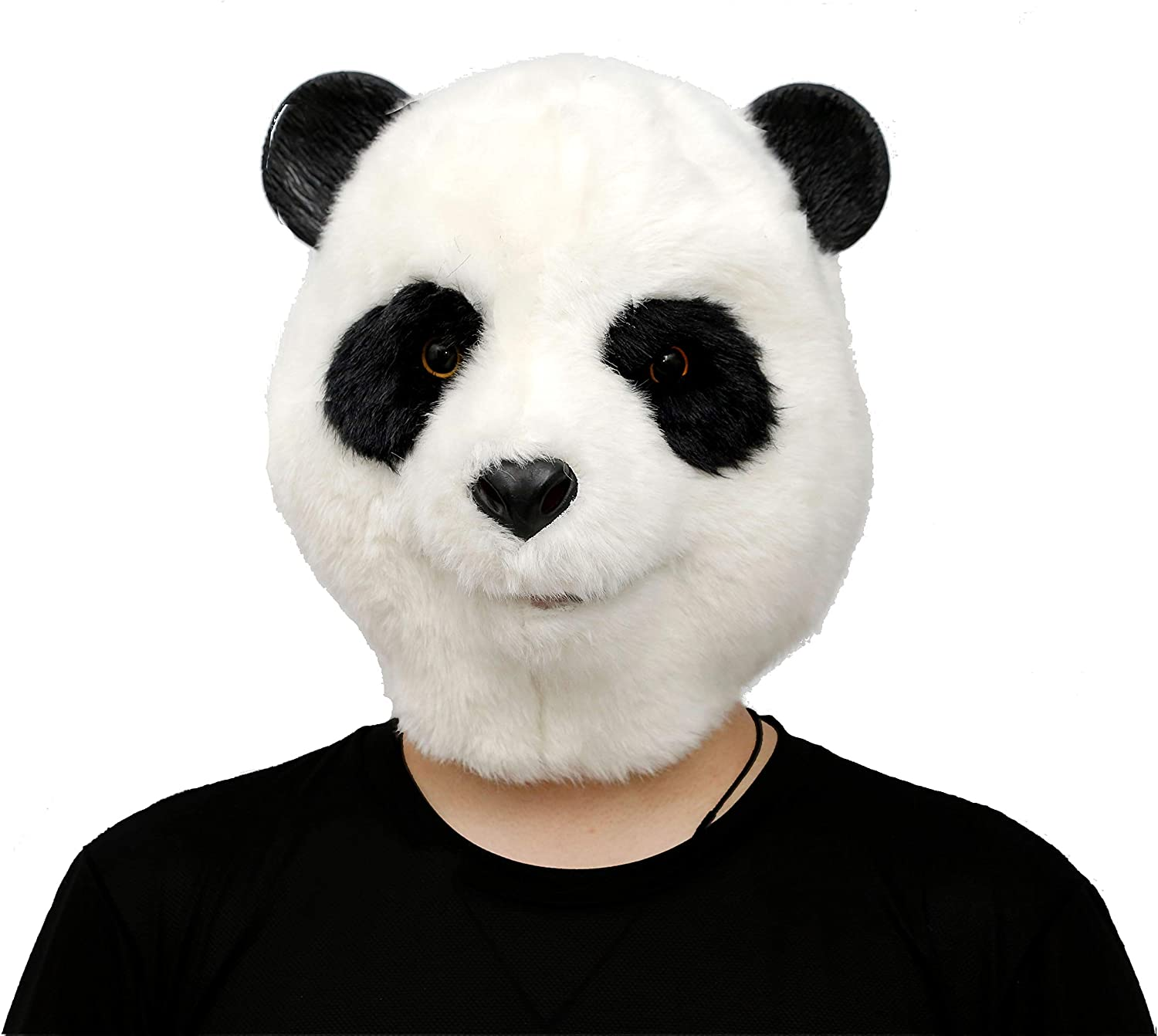 CreepyParty Novelty Halloween Costume Party Latex Animal Head Mask Plush Panda White