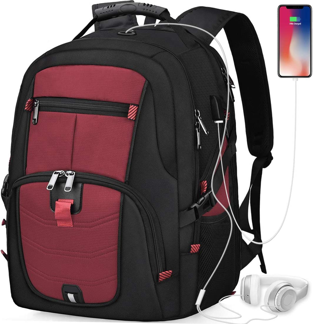 Laptop Backpack 18.4 Inch Waterproof Extra Large TSA Travel Backpack Anti Theft College School Business Mens Backpacks with USB Charging Port 17.3 Gaming Computer Backpack for Women Men Red