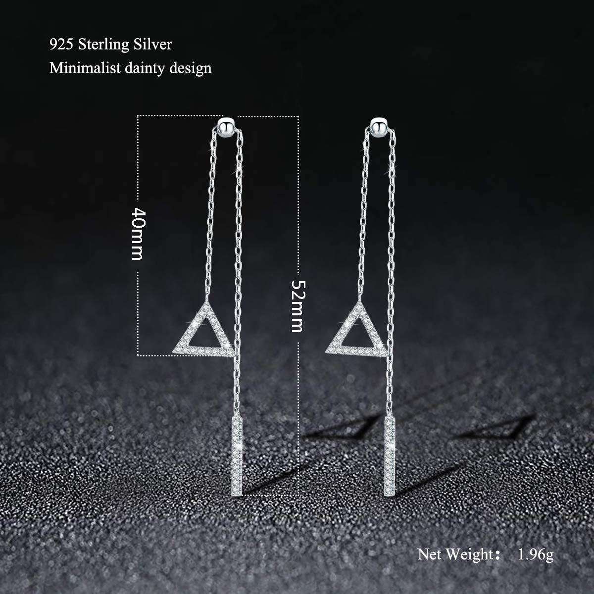 SIMPLOVE 925 Sterling Silver Triangle Vertical Bar Dangle Earrings for Women Asymmetrical Girl/'s Gift Jewelry