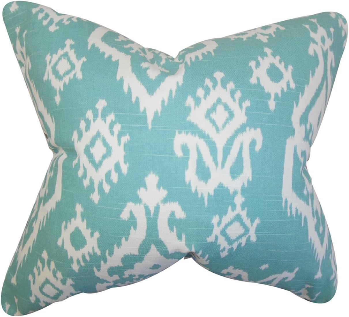 The Pillow Collection Baraka Ikat Bedding Sham Blue King//20 x 36
