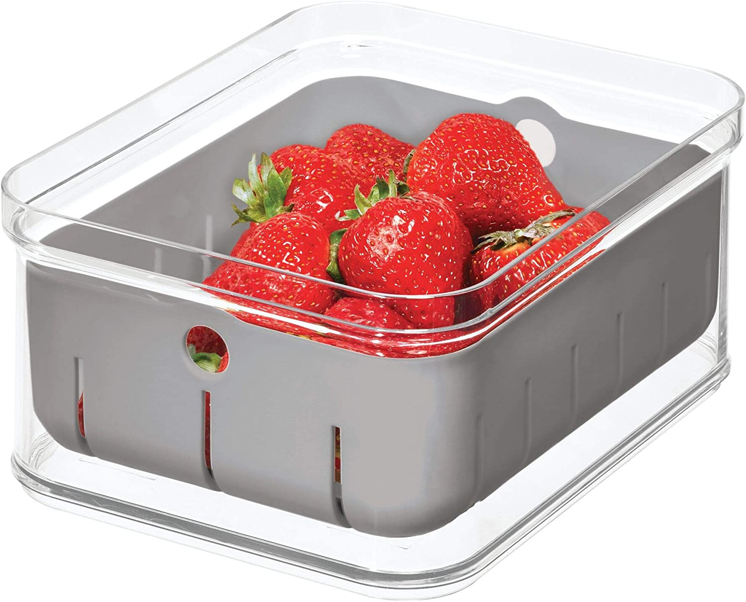 """iDesign Crisp Plastic Refrigerator and Pantry Modular Bin with Removable Inner Basket Perfect for Washing Berries, Fruit, Vegetables, BPA Free, 8.32"""" x 6.32"""" x 3.88"""","""