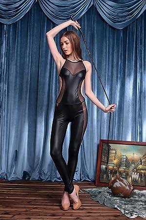 Mujeres Sexy corsé de cuero traje de la ropa interior Catwoman Latex Catsuit PVC mono vestido