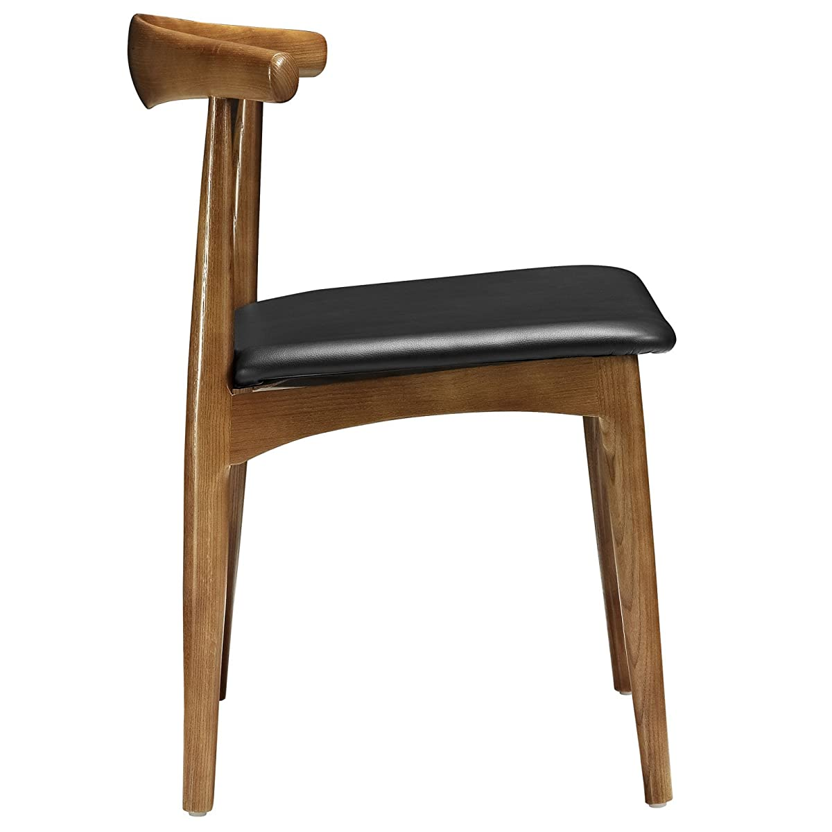 Modway Tracy Mid-Century Dining Side Chair With Faux Leather Seat in Black