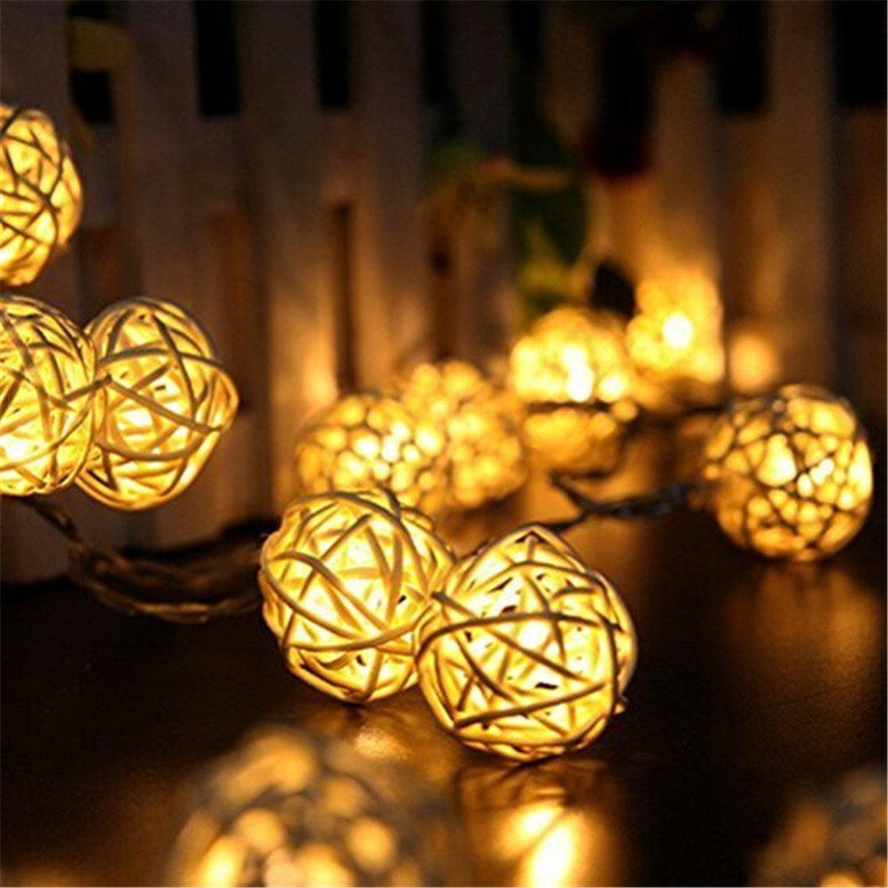 37yimu – 20 LED Rattan-Kugel-Licht Kette Haus Garten Lampe Feen ...