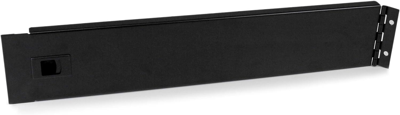 StarTech.com 2U Hinged Rack Panel - Solid Blanking Panel - Tool-less Installation - TAA Compliant Filler Panel - Reversible (RKPNLHS2U)