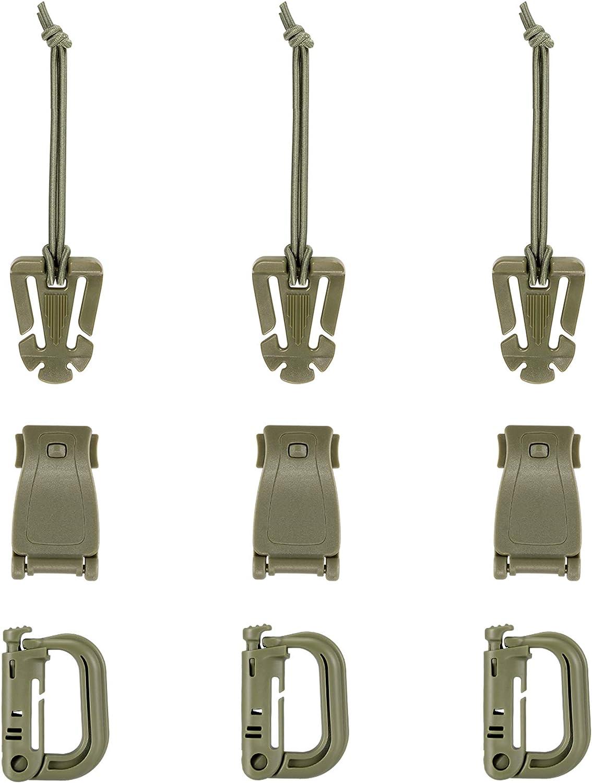 Bloqueo Grimloc/D-Ring,Web Dominator Cuerdas /& Hebilla El/ásticas,4Correa MOD,Llavero Fijo en Bolsa de Cremallera BOOSTEADY Kit de 13 Accesorios para Bolsa t/áctica de Molle Correa de Mochila Chaleco