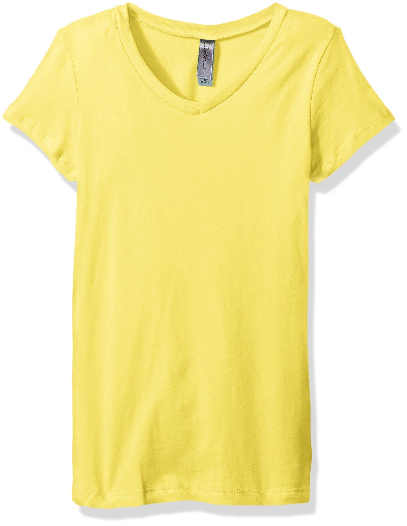 Clementine Apparel Big Girls' Everyday Short-Sleeve Princess V-Neck Tee, Yellow, Large