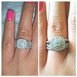 Amazoncom 1 110ct Cushion Halo Diamond Engagement Wedding Ring