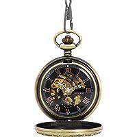 NICERIO Men Pocket Watch,Roman Numerals Semi-Auto Mechanical Windup Steampunk Pocket Watch with Fob Chain,Bronze