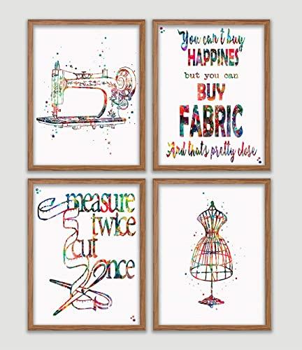 Amazon Com Sewing Watercolor Poster Set Of 4 Sewing Room Art Print