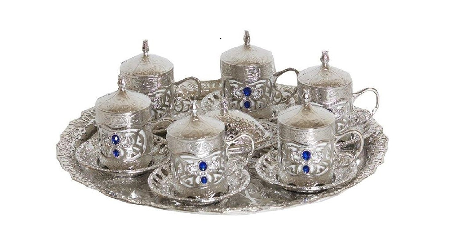 26 Piece Traditional Turkish Style Coffee Serving Set Nickel and Porcelain with Colored Stone Insets (Silver)